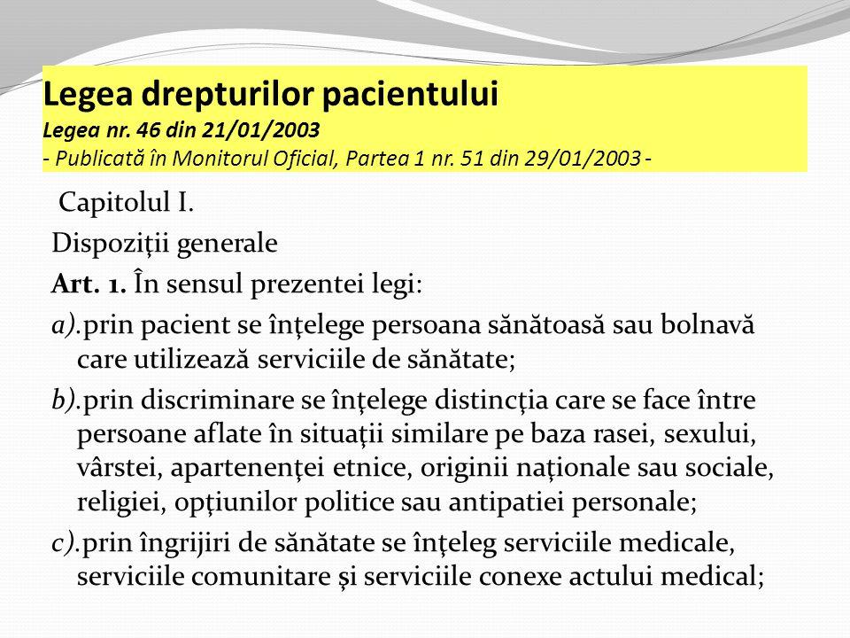 Legea drepturilor pacientului Legea nr