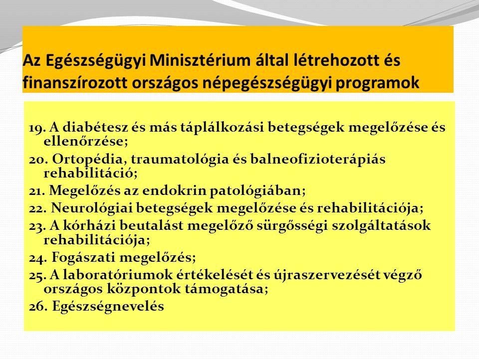 Az Egészségügyi Minisztérium által létrehozott és finanszírozott országos népegészségügyi programok