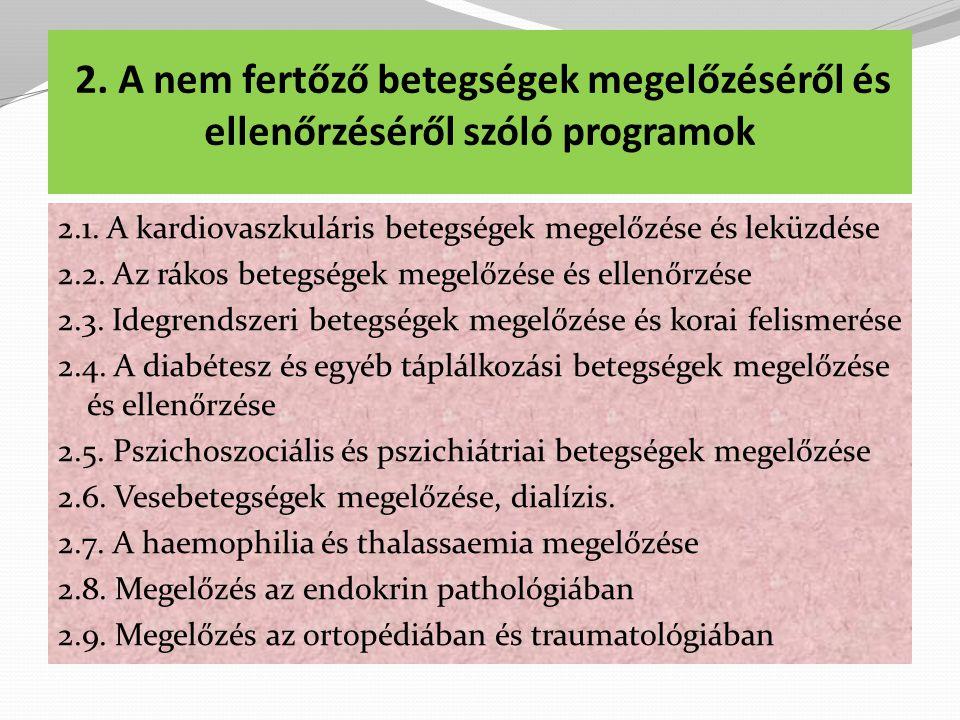 2. A nem fertőző betegségek megelőzéséről és ellenőrzéséről szóló programok
