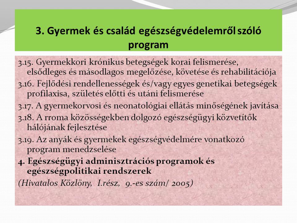 3. Gyermek és család egészségvédelemről szóló program