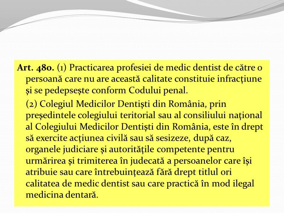 Art. 480. (1) Practicarea profesiei de medic dentist de către o persoană care nu are această calitate constituie infracţiune şi se pedepseşte conform Codului penal.