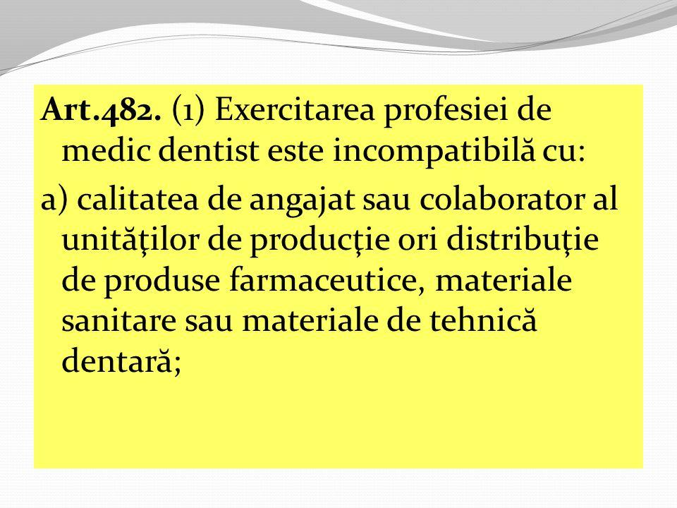 Art.482. (1) Exercitarea profesiei de medic dentist este incompatibilă cu: