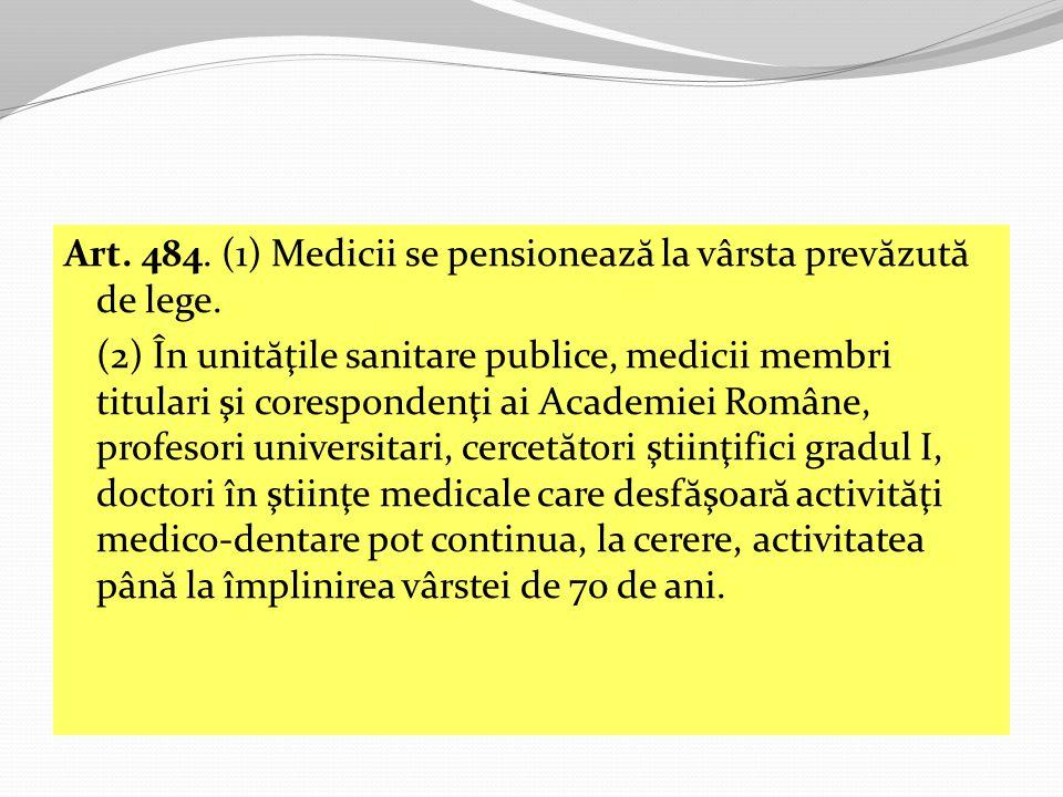 Art. 484. (1) Medicii se pensionează la vârsta prevăzută de lege.