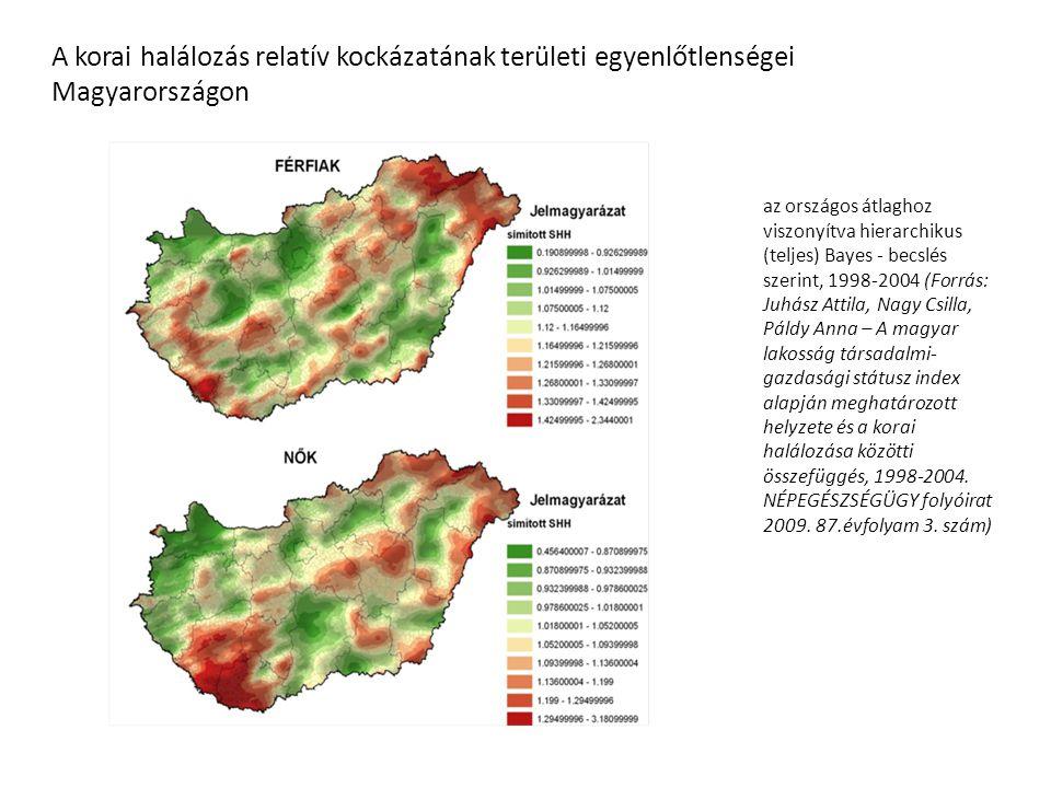 A korai halálozás relatív kockázatának területi egyenlőtlenségei Magyarországon