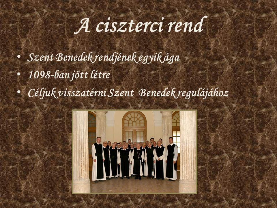 A ciszterci rend Szent Benedek rendjének egyik ága 1098-ban jött létre