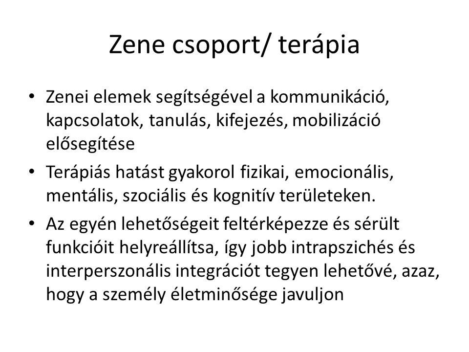 Zene csoport/ terápia Zenei elemek segítségével a kommunikáció, kapcsolatok, tanulás, kifejezés, mobilizáció elősegítése.