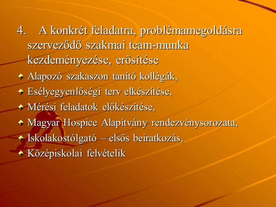 4. A konkrét feladatra, problémamegoldásra szerveződő szakmai team-munka kezdeményezése, erősítése