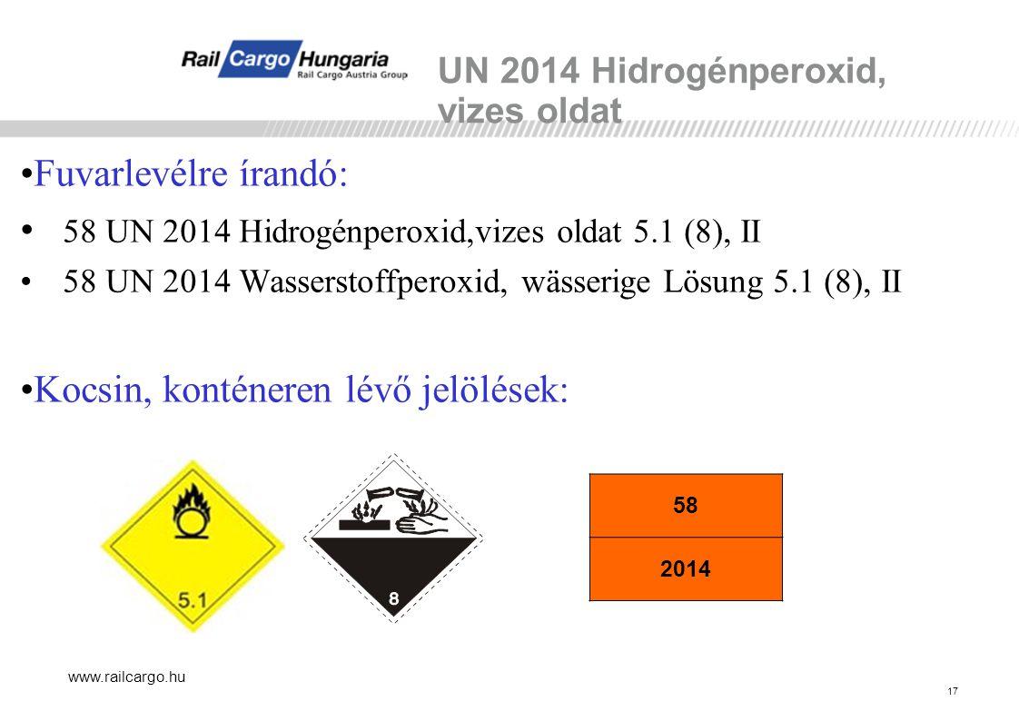 UN 2014 Hidrogénperoxid, vizes oldat