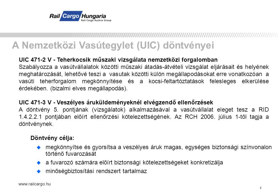 A Nemzetközi Vasútegylet (UIC) döntvényei