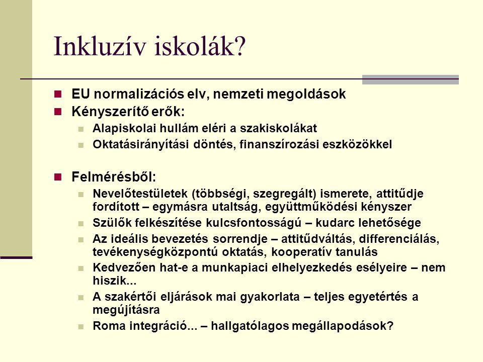 Inkluzív iskolák EU normalizációs elv, nemzeti megoldások