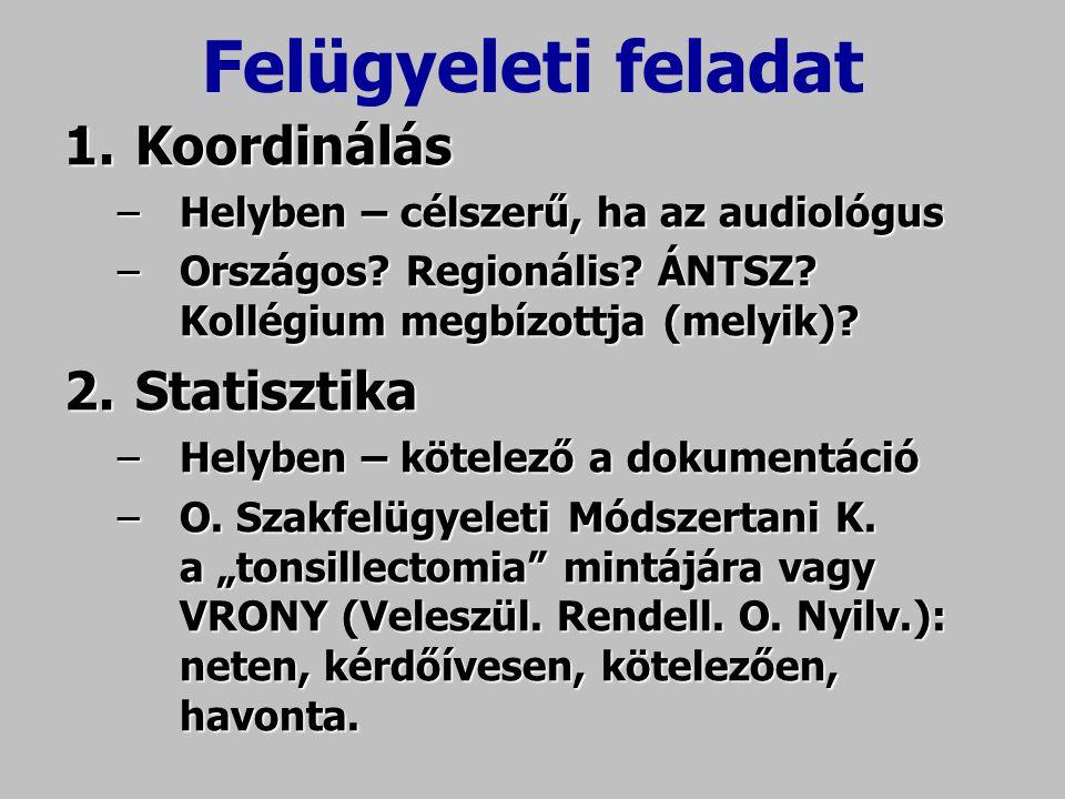 Felügyeleti feladat Koordinálás Statisztika