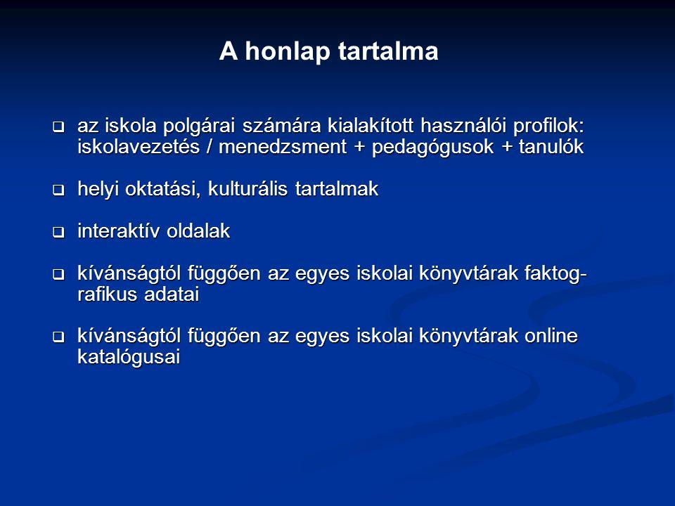 A honlap tartalma az iskola polgárai számára kialakított használói profilok: iskolavezetés / menedzsment + pedagógusok + tanulók.