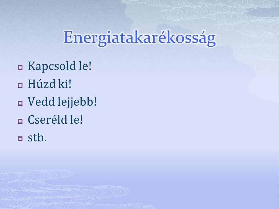 Energiatakarékosság Kapcsold le! Húzd ki! Vedd lejjebb! Cseréld le!