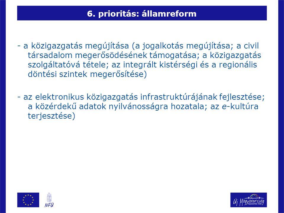 6. prioritás: államreform