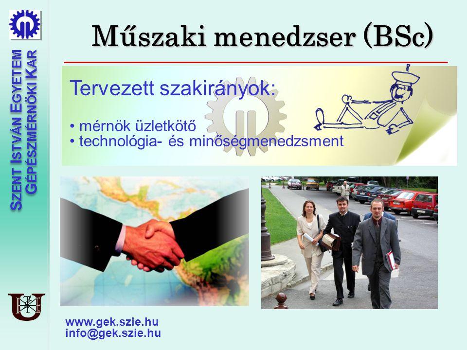 Műszaki menedzser (BSc)