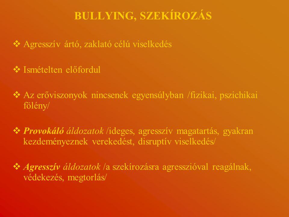 BULLYING, SZEKÍROZÁS Agresszív ártó, zaklató célú viselkedés