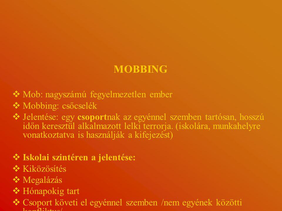 MOBBING Mob: nagyszámú fegyelmezetlen ember Mobbing: csőcselék