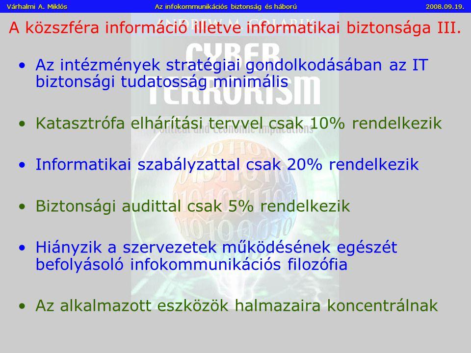 A közszféra információ illetve informatikai biztonsága III.