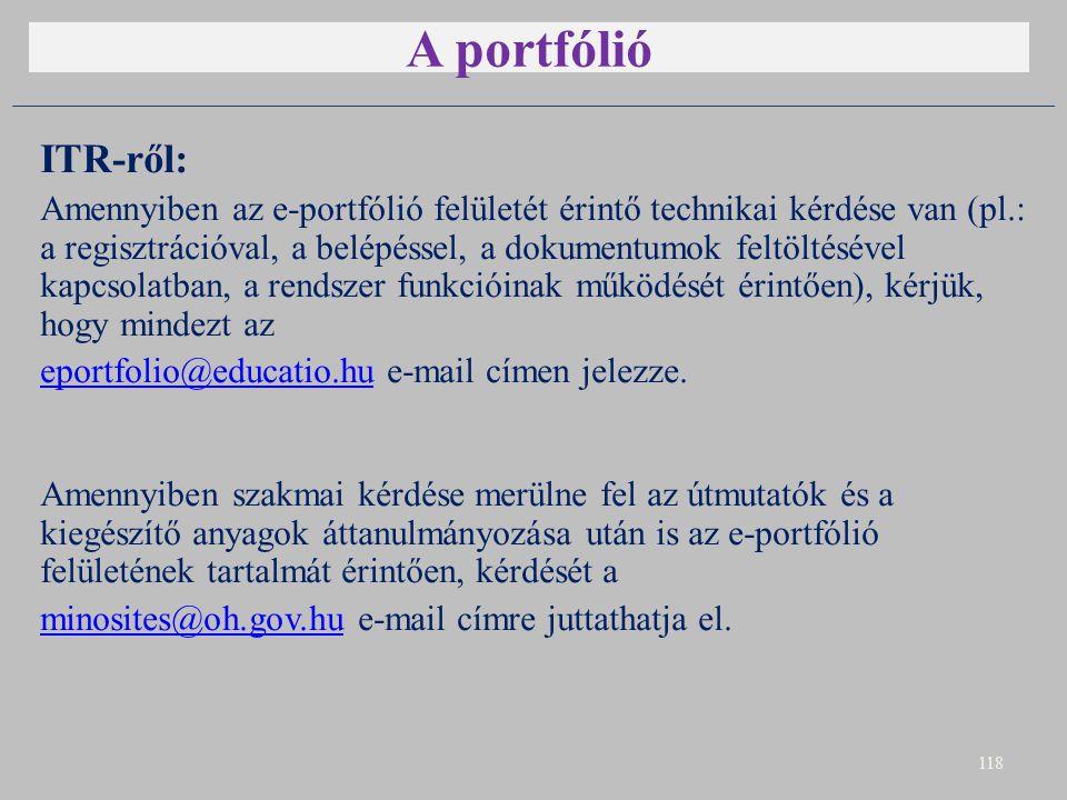 A portfólió ITR-ről: