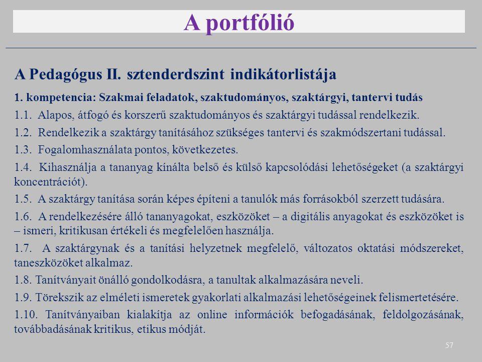 A portfólió A Pedagógus II. sztenderdszint indikátorlistája