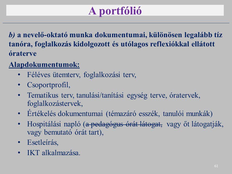 A portfólió b) a nevelő-oktató munka dokumentumai, különösen legalább tíz tanóra, foglalkozás kidolgozott és utólagos reflexiókkal ellátott óraterve.