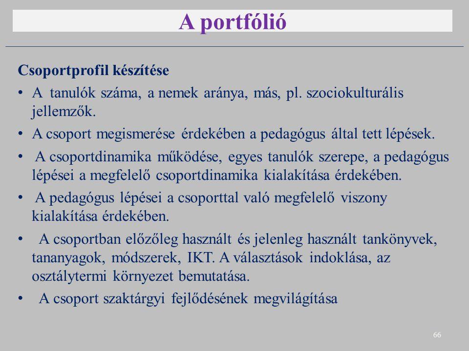 A portfólió Csoportprofil készítése