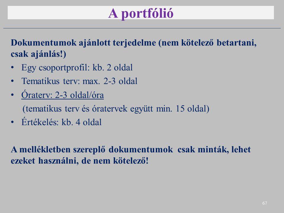 A portfólió Dokumentumok ajánlott terjedelme (nem kötelező betartani, csak ajánlás!) Egy csoportprofil: kb. 2 oldal.