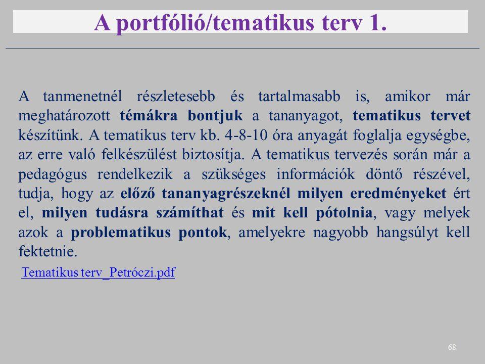 A portfólió/tematikus terv 1.