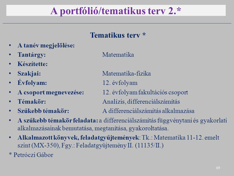 A portfólió/tematikus terv 2.*