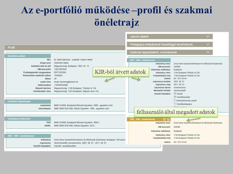 Az e-portfólió működése –profil és szakmai önéletrajz