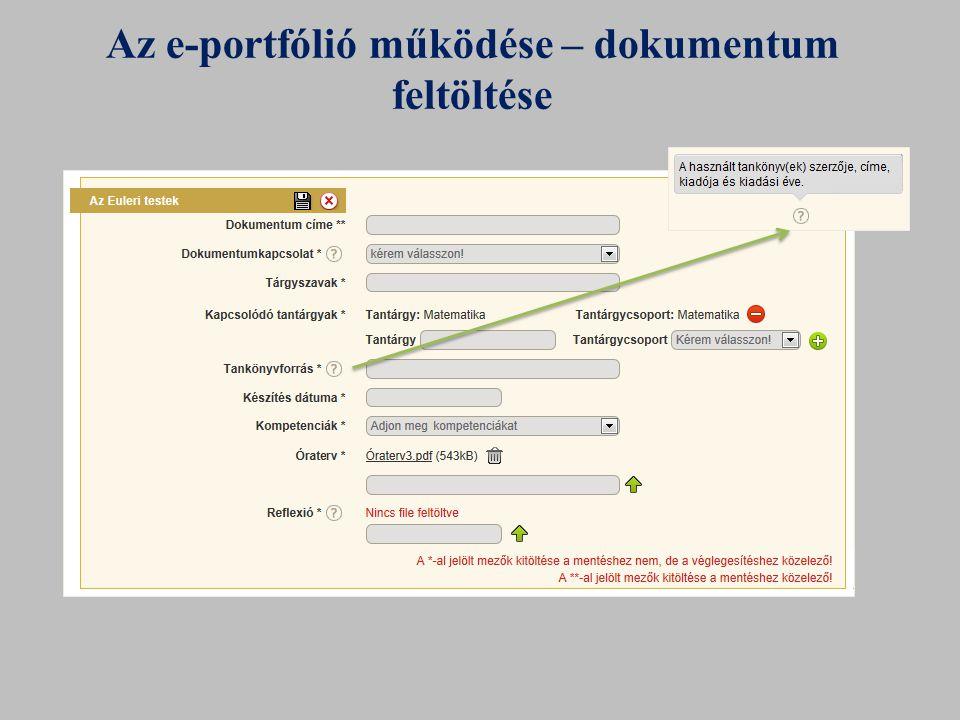 Az e-portfólió működése – dokumentum feltöltése