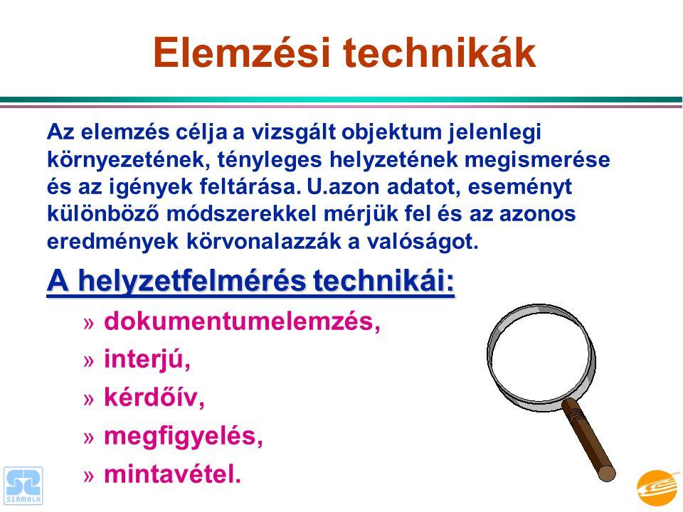 Elemzési technikák A helyzetfelmérés technikái: dokumentumelemzés,