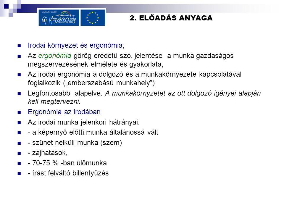 2. ELŐADÁS ANYAGA Irodai környezet és ergonómia;
