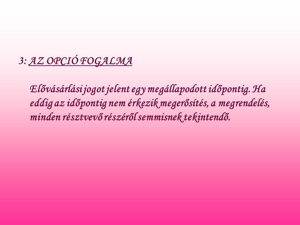 3: AZ OPCIÓ FOGALMA Elővásárlási jogot jelent egy megállapodott időpontig.