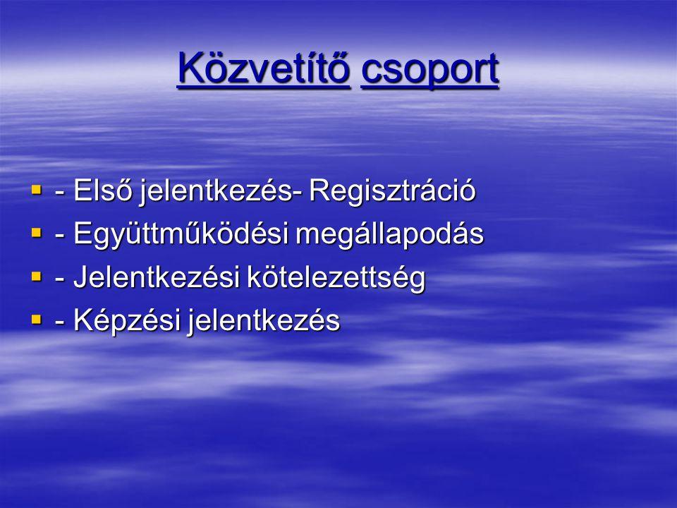 Közvetítő csoport - Első jelentkezés- Regisztráció