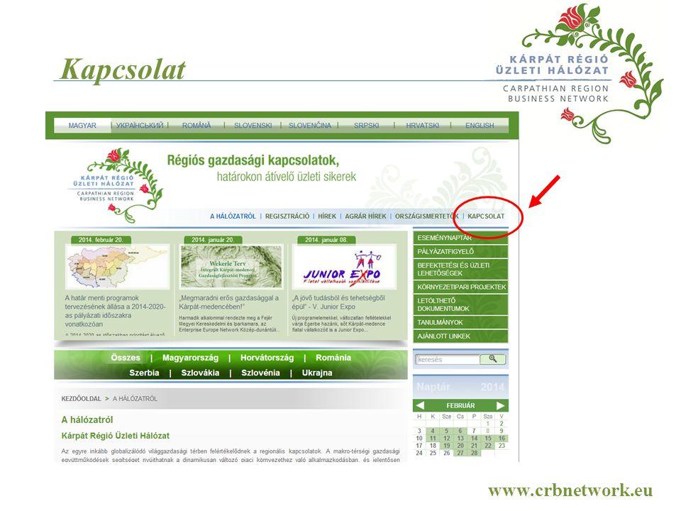Kapcsolat www.crbnetwork.eu A honlap bemutatása: Kapcsolatok fül