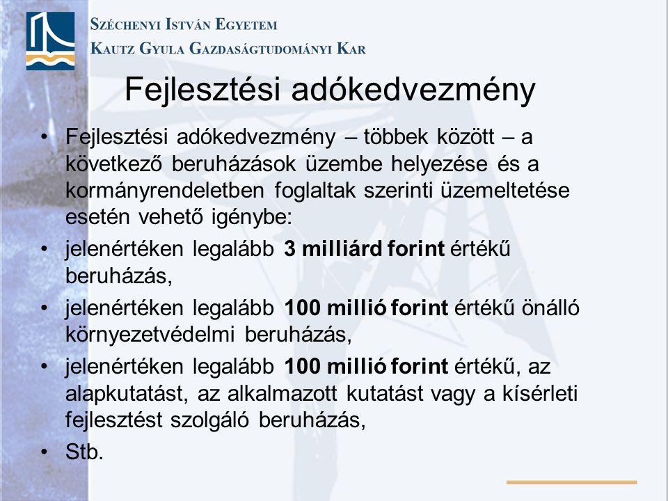Fejlesztési adókedvezmény