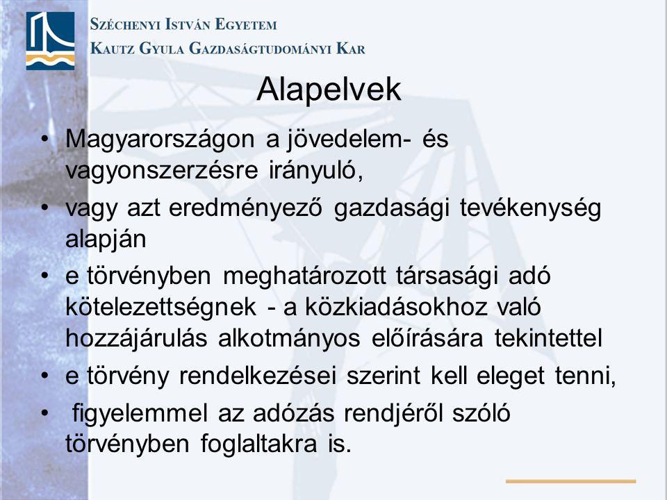 Alapelvek Magyarországon a jövedelem- és vagyonszerzésre irányuló,