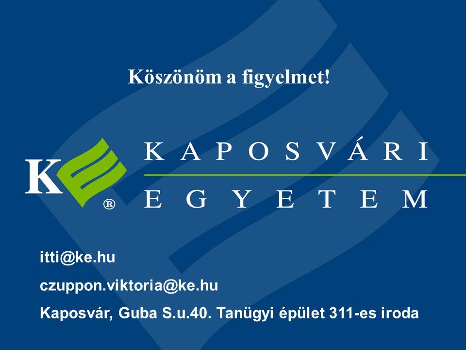 Köszönöm a figyelmet! itti@ke.hu czuppon.viktoria@ke.hu