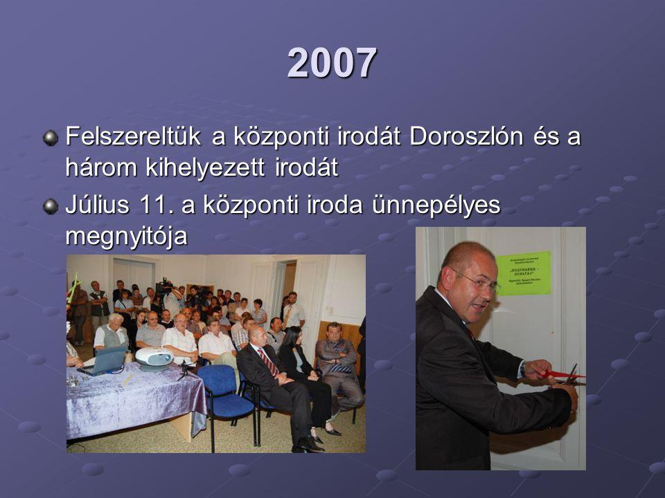 2007 Felszereltük a központi irodát Doroszlón és a három kihelyezett irodát.