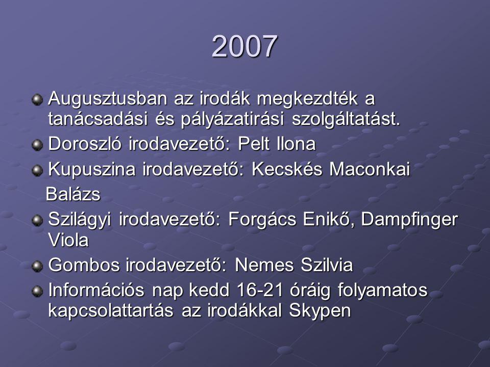2007 Augusztusban az irodák megkezdték a tanácsadási és pályázatirási szolgáltatást. Doroszló irodavezető: Pelt Ilona.