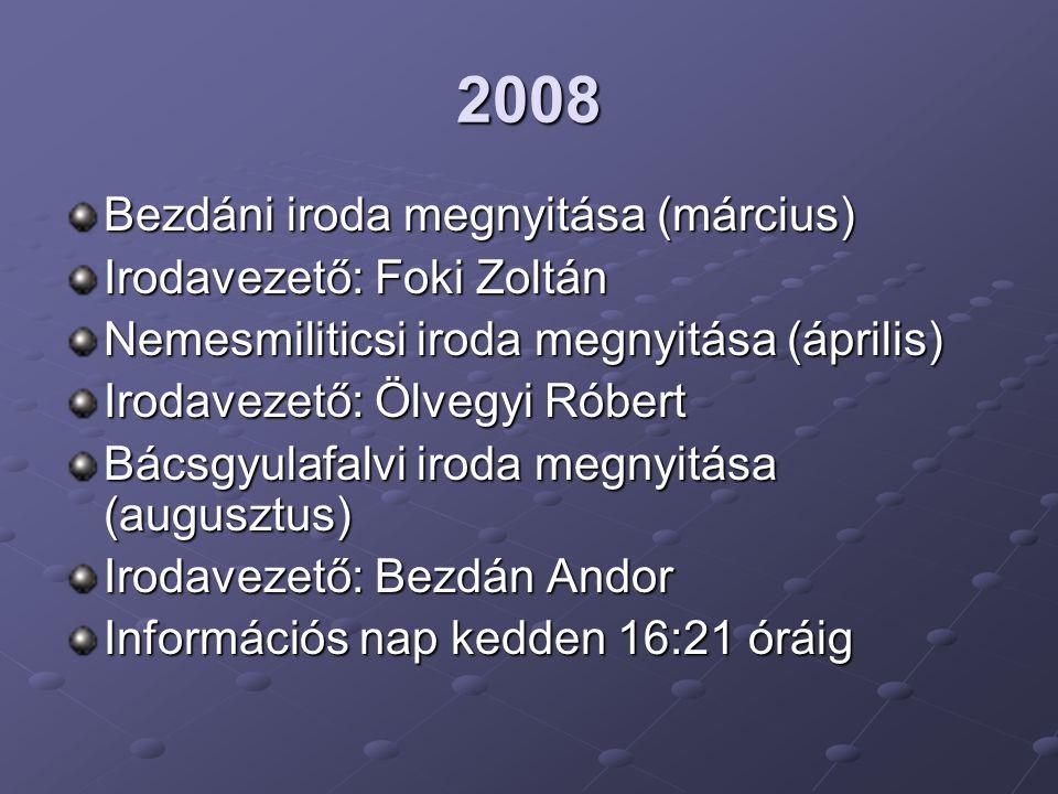 2008 Bezdáni iroda megnyitása (március) Irodavezető: Foki Zoltán