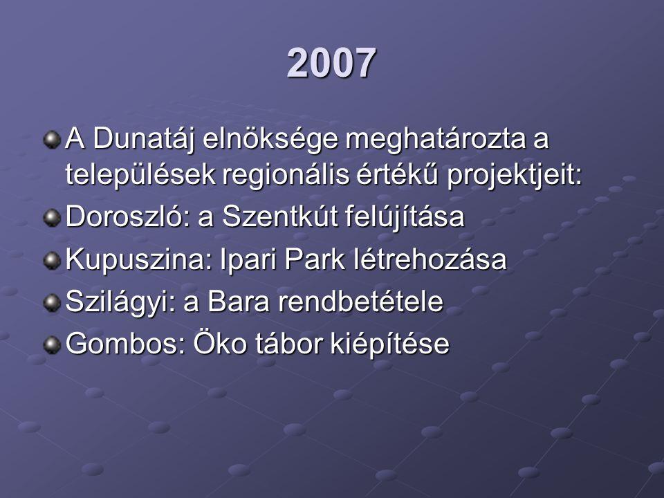 2007 A Dunatáj elnöksége meghatározta a települések regionális értékű projektjeit: Doroszló: a Szentkút felújítása.