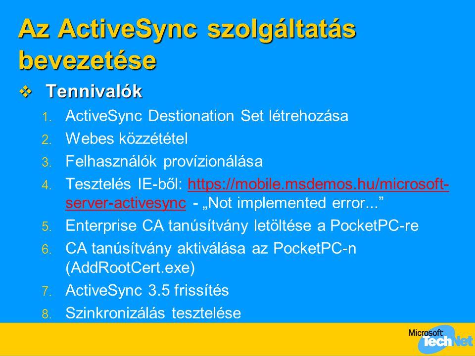 Az ActiveSync szolgáltatás bevezetése