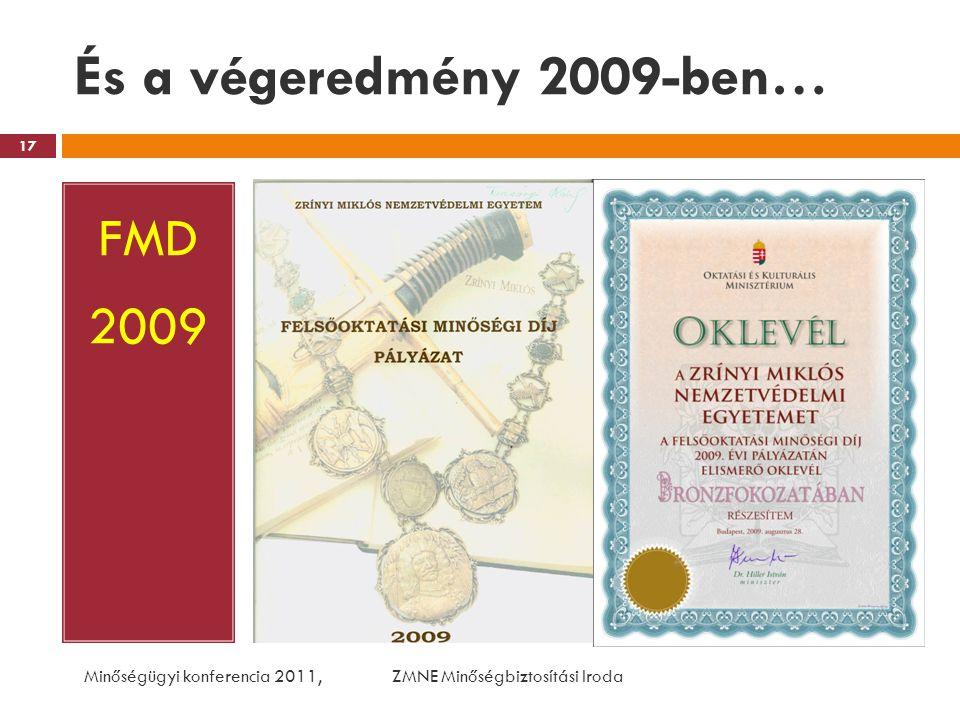 És a végeredmény 2009-ben… FMD 2009