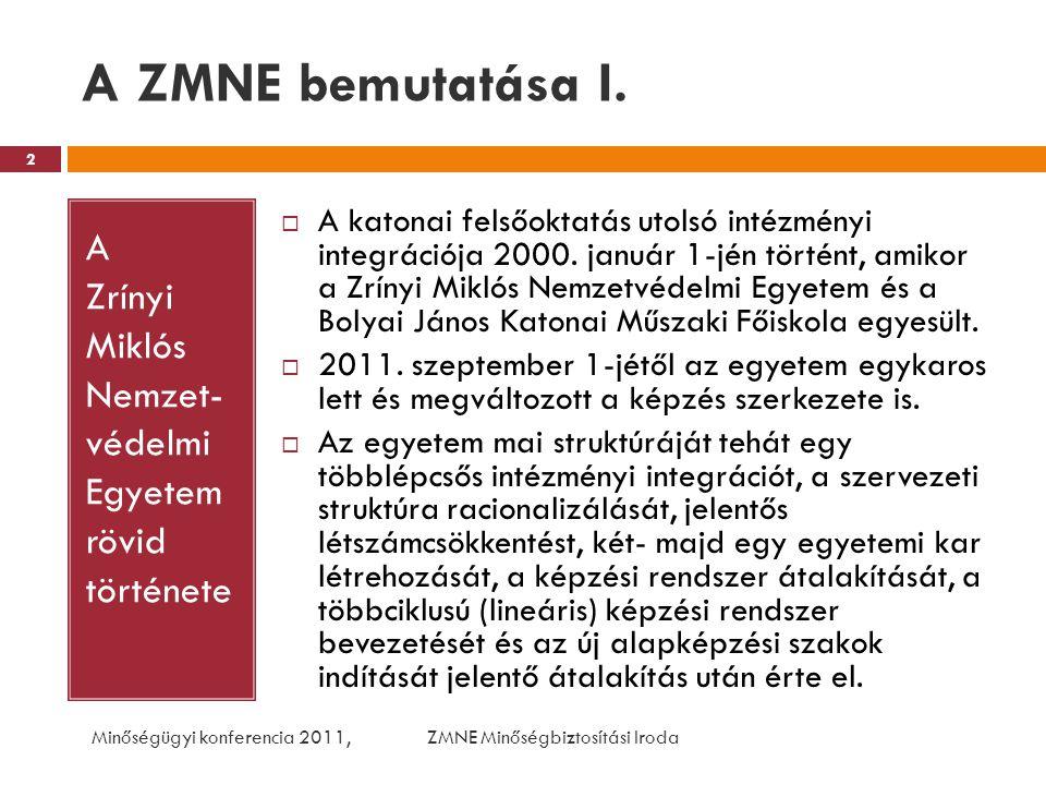 A ZMNE bemutatása I. A Zrínyi Miklós Nemzet- védelmi Egyetem rövid története.