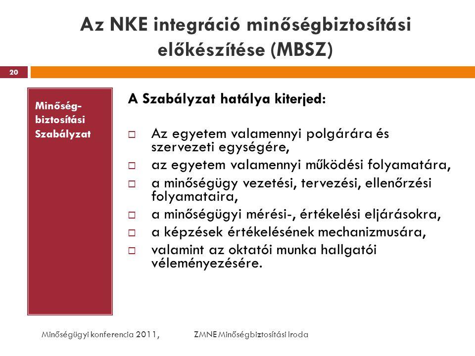 Az NKE integráció minőségbiztosítási előkészítése (MBSZ)