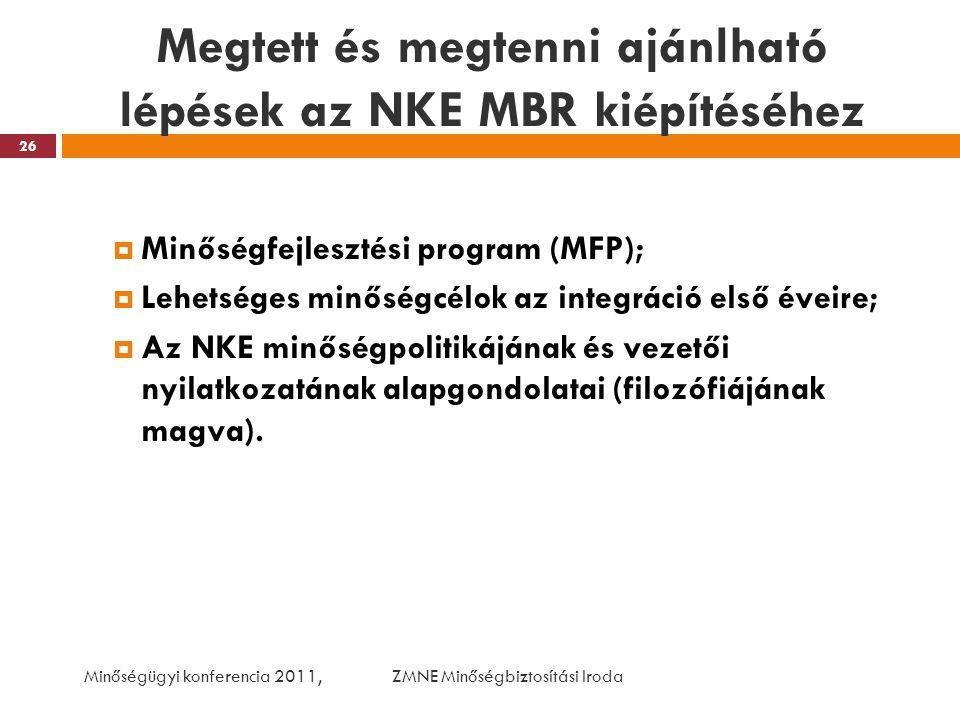 Megtett és megtenni ajánlható lépések az NKE MBR kiépítéséhez