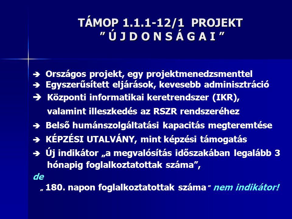 TÁMOP 1.1.1-12/1 PROJEKT Ú J D O N S Á G A I