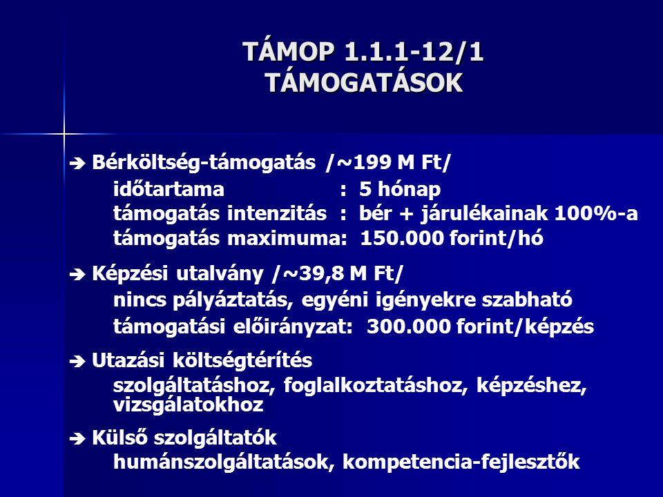 TÁMOP 1.1.1-12/1 TÁMOGATÁSOK időtartama : 5 hónap